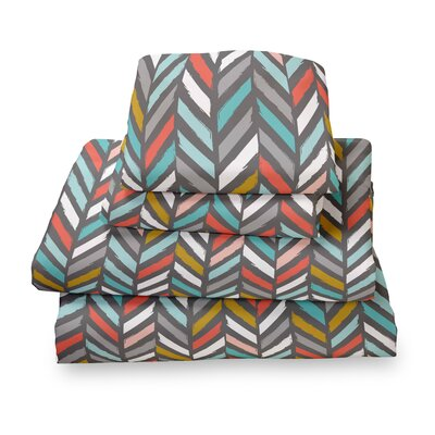Herringbone Extra Deep Pocket Sheet Set Size: Twin, Color: Gray/Red/Blue