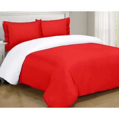 Mariella Duvet Set Size: Twin, Color: Red