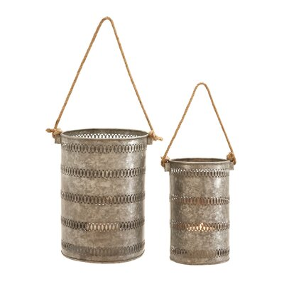 2 Piece Metal Galvanized Lantern Set