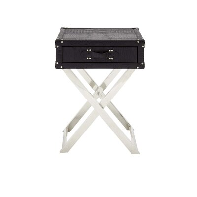 Stainless Steel and Leather End Table