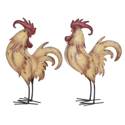 2 Piece Rooster Sculpture Set