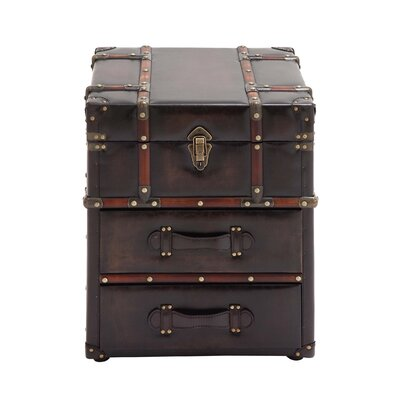 Miles Faux Leather Trunk Design End Table