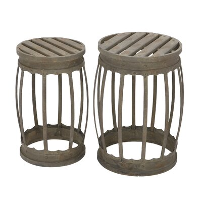 2 Piece Metal Stool Set