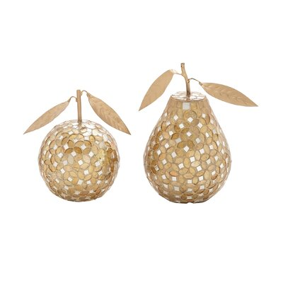 2 Piece Decorative Pear Apple Set