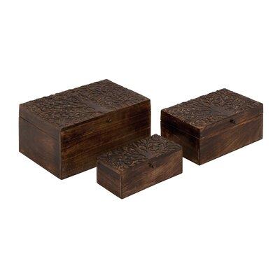 3 Piece Wood Carved Box Set
