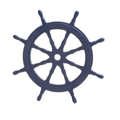 Wood Ship Wheel Wall Décor Color: Navy Blue