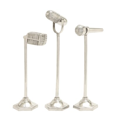 3 Piece Aluminum Microphone Sculpture Set