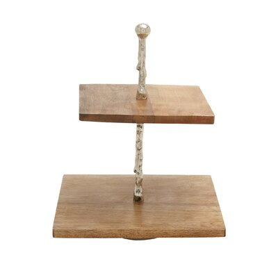 Wood and Aluminum 2 Tier Tray