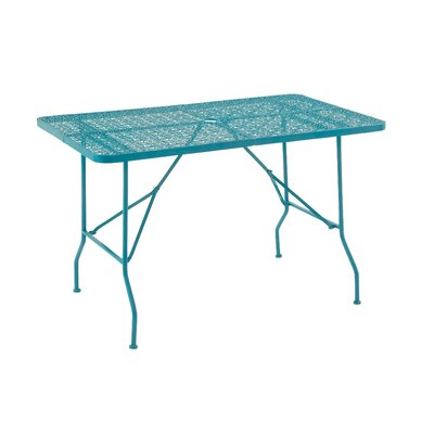 Metal Fold Outdoor Bar Table Table Size: 48 L x 28 W, Finish: Turquoise