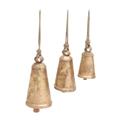3 Piece Decorative Metal Long Bell Figurine Set