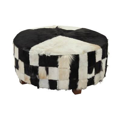 Hide Ottoman Upholstery Color: Black/White