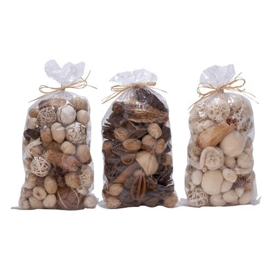 3 Piece Natural Decorative Ball Bag Set