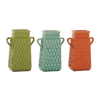 3 Piece Ceramic Vase Set Size: 10 H x 7 W x 3 D