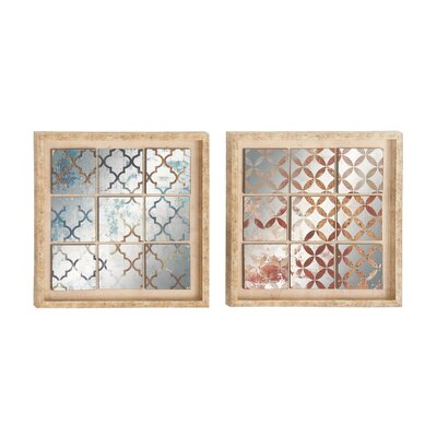 2 Piece Polystone Mirror Framed Wall Décor Set
