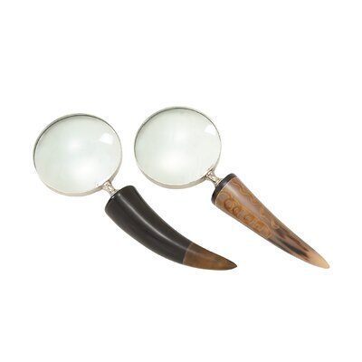 2 Piece Brass Horn Magnifying Glass Set