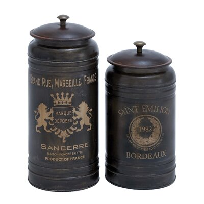 2 Piece Decorative Metal Canister Set