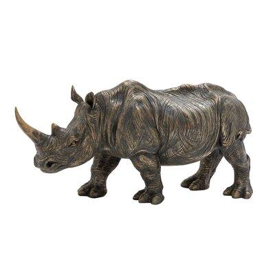Polystone Rhino Figurine Size: 10 H x 23 W x 6 D