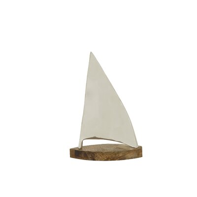 Aluminum/Wood Sailboat Sculpture Size: 16 H x 11 W x 5 D