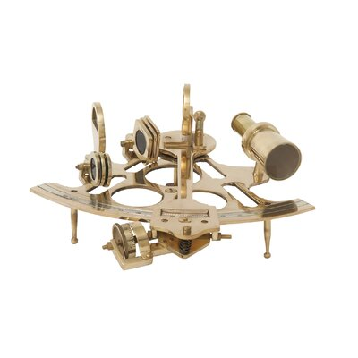 Decorative Brass Sextant Sculpture