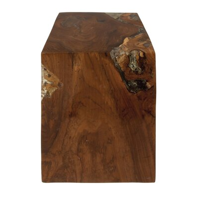 Teak Wood and Resin Accent Stool