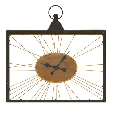 Metal Wood Glass Wall Clock