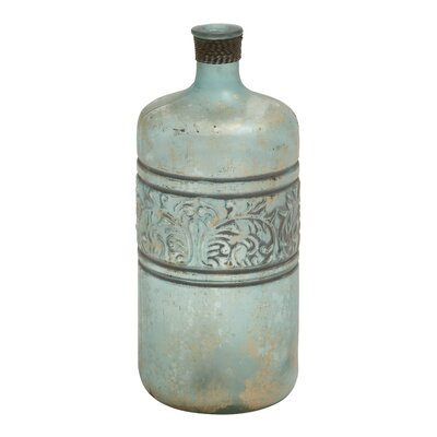 Ceramic Embossed Vase Size: 14 H x 6 W x 6 D