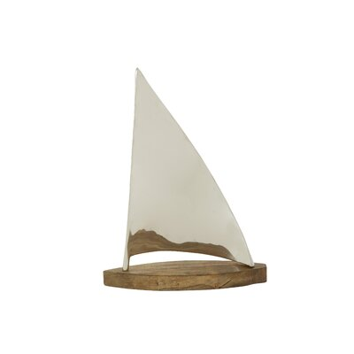Aluminum/Wood Sailboat Sculpture Size: 19 H x 14 W x 5 D