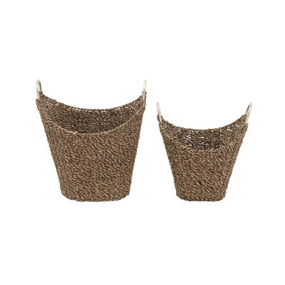 2 Piece Seagrass Metal Basket Set