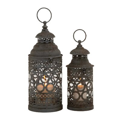 2 Piece Metal and Glass Lantern Set