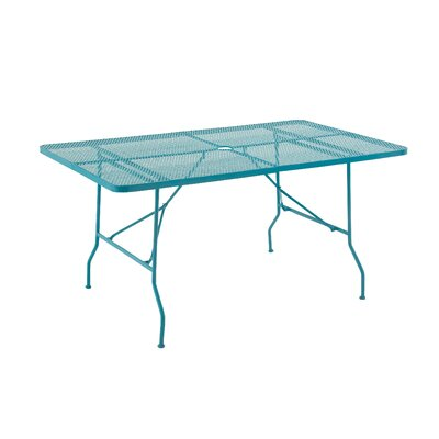 Metal Fold Outdoor Bar Table Finish: Turquoise, Table Size: 60 L x 36 W