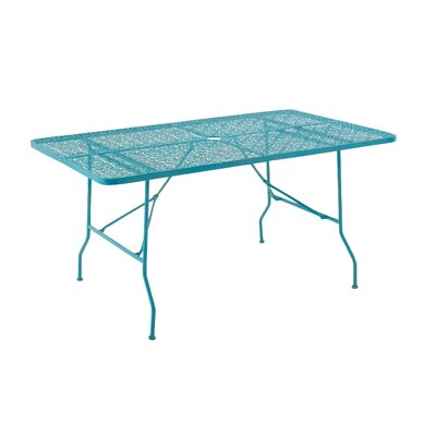 Metal Fold Outdoor Bar Table Table Size: 60 L x 36 W, Finish: Turquoise