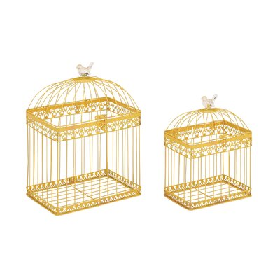2 Piece Metal Acrylic Decorative Bird Cage Set Color: Yellow