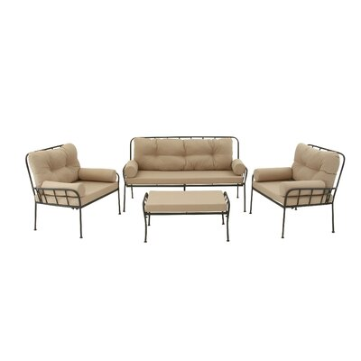 Metal and Fabric 4 Piece Deep Sitting Group with Cushions