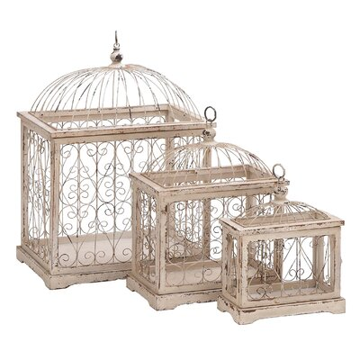 3 Piece Wood and Metal Decorative Bird Cage Set