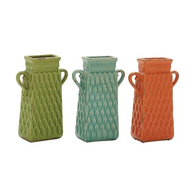 3 Piece Ceramic Vase Set Size: 12 H x 8 w x 3.5 D