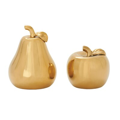 2 Piece Ceramic Pear Apple Sculpture Set Finish: Gold