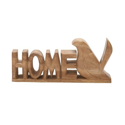 Decorative Wood Home with Bird Sign Sculpture