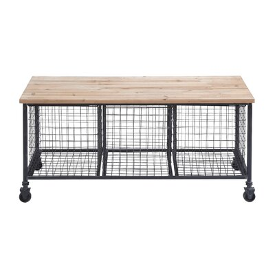 Metal and Wood Storage Entryway Bench