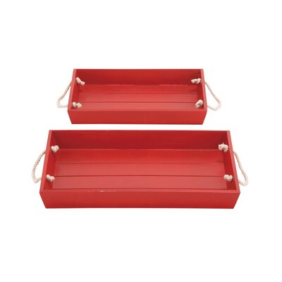 2 Piece Wood Rope Tray Set Color: Burgundy
