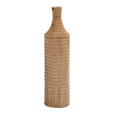 Decorative Wood Ribbed Bottle