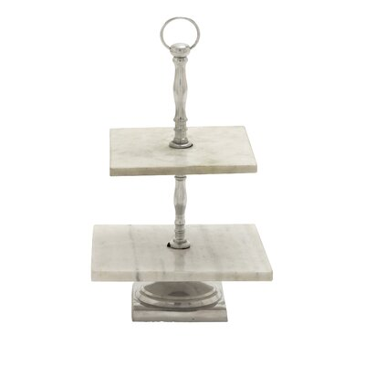 Aluminum Rectangle Marble 2 Tier Tray