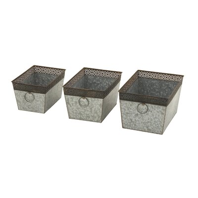 3-Piece Tin Planter Box Set