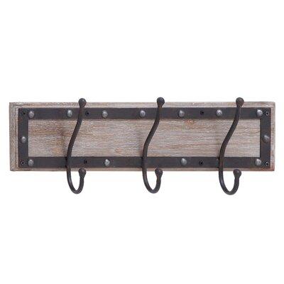 Wood and Metal Wall Mounted Coat Rack