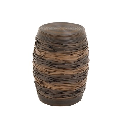 Wood and PE Rattan Accent Stool