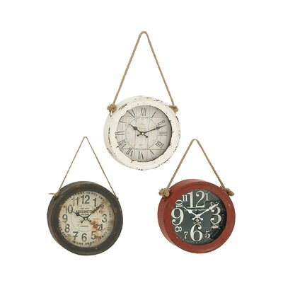 3 Piece Metal Wall Clock Set
