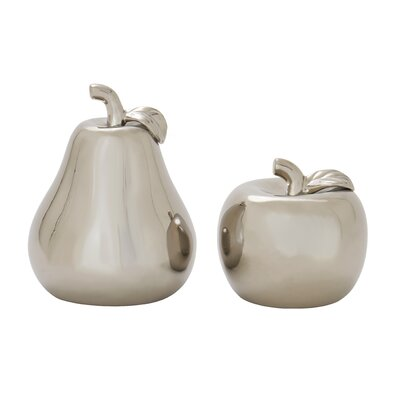 2 Piece Ceramic Pear Apple Sculpture Set Finish: Silver