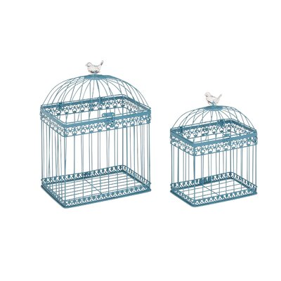 2 Piece Metal Acrylic Decorative Bird Cage Set Color: Turquoise
