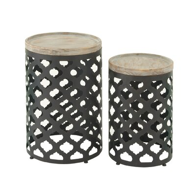 2 Piece Metal Wood End Set