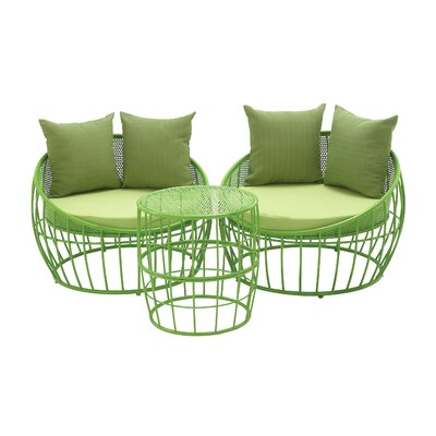 3 Piece Lounge Seating Group with Cushion Finish: Green