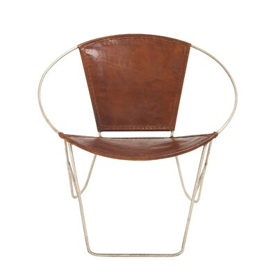 Metal and Leather Papasan Chair